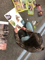 Sixth Graders working on Self Image Collages